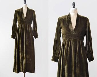 Moore Dress / 1970s velvet maxi dress / vintage olive green dress