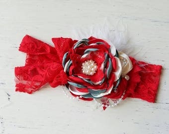 Christmas couture headband , baby red headband, photography prop, cake smash , vintage headband hoilday headband