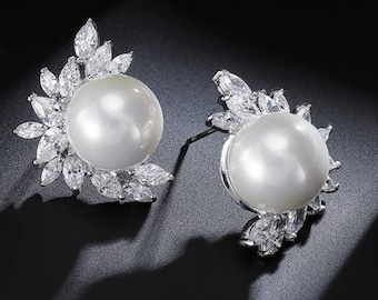 "PAIR Leaf Floral Pearl Crystal Bridal Wedding Tunnels Gauges Plugs Earrings 0g 00g 7/16"" 1/2"" 9/16"" 5/8"" 11/16"" 8mm 9mm 11mm 12mm"