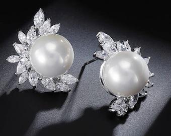 "PAIR Silver Leaf Floral Pearl Crystal Bridal Wedding Tunnels Gauges Plugs Earrings 0g 00g 7/16"" 1/2"" 9/16"" 5/8"" 11/16"" 8mm 9mm 11mm 12mm"