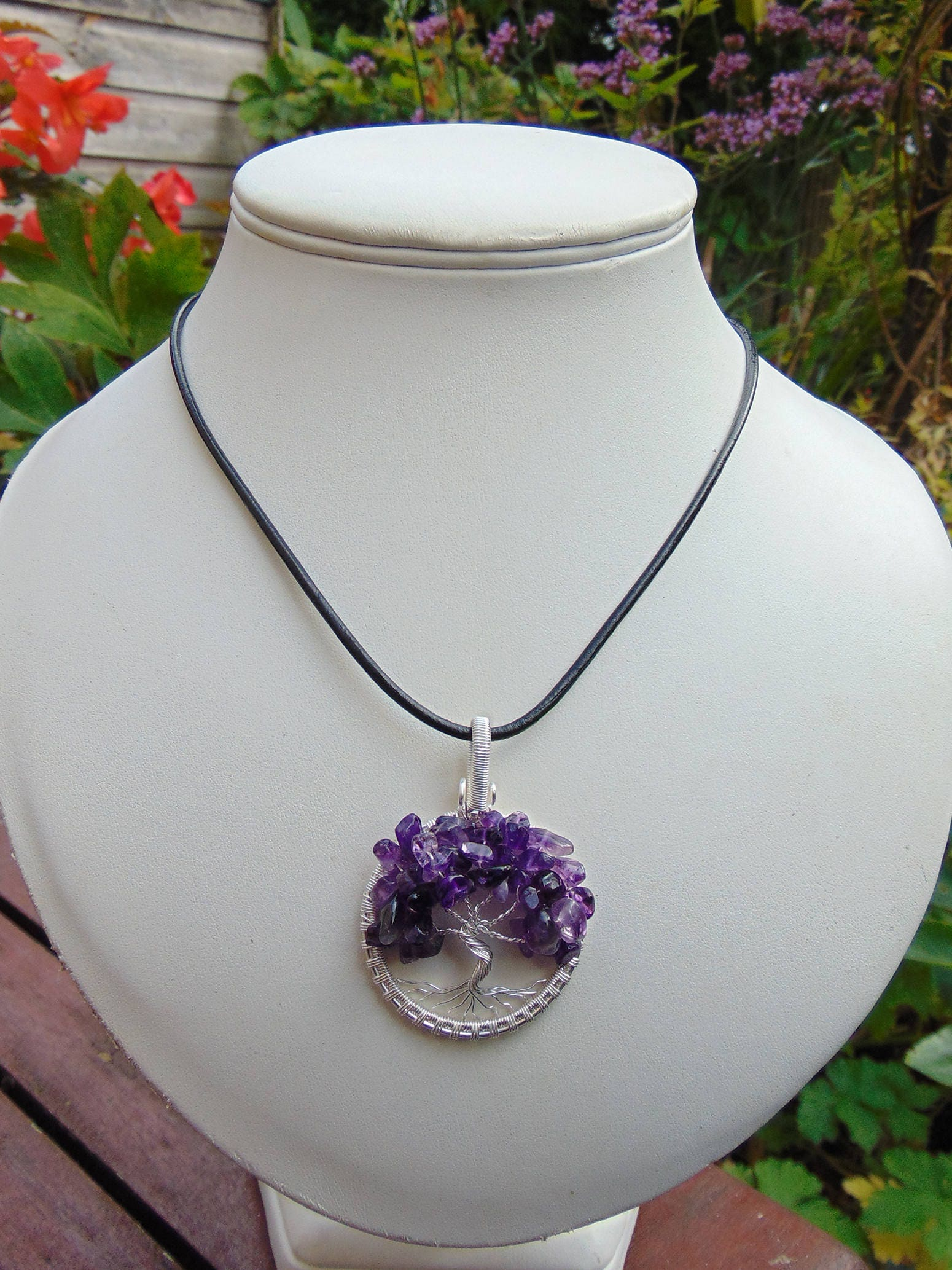 Amethyst Tree of Life Pendant - Yggdrasil Wire Wrapped Pendant ...