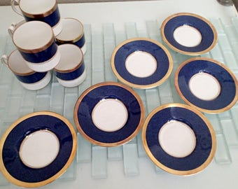 Coalport Athlone Blue Gold Demitasse Espresso Cups Saucers ENGLAND - Set of 6 Bone China
