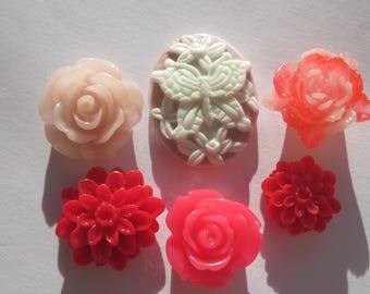 6 flowers and cameo resin stick base 10 to 15 mm and 21 x 27 mm (12)