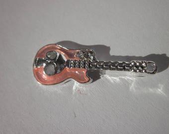pink color guitar charm - 3 cm - (149)-
