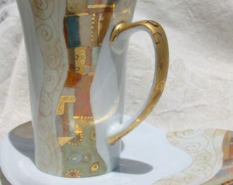 sold - Klimt style tea cup and its UNIQUE serving platter fine gold plated