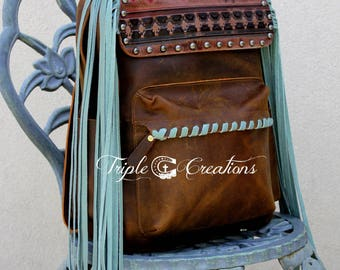 Leather Backpack with Fringe