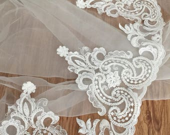 luxury heavily ivory pearl beaded alencon lace trim in vintage style for bridal veil, weddong gown, cathedral veils