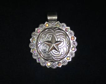 Southwestern Pendant with Rhinestones , Cowgirl charms, AB Rhinestone Rodeo Charms 2 Pieces 42mm Tube Bail Antique Silver Finish 11-11-AB