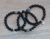 ZenHappy Black Lava Gemstone Stretch Bracelet with Sterling Silver Prayer Wheel and Yoga Warrior Pose Charm; Aromatherapy Diffuser Bracelet