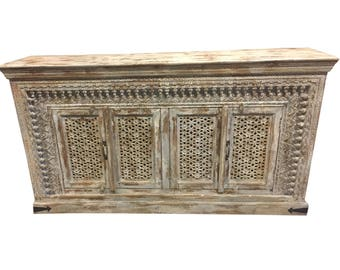 Antique  Natural Whitewashed Sideboard Cabinet TV Console Farmhouse Distressed wood Hand Carved Eclectic Decor FREE SHIP Early Black Friday