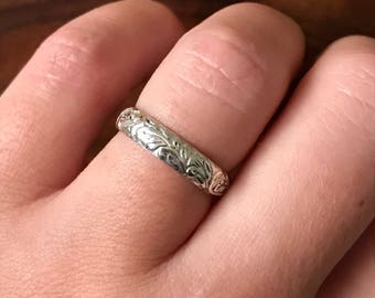 Silver Floral Band - Ready to Ship