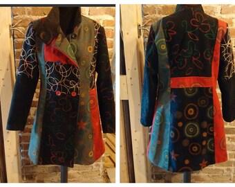 Vintage Art Reco Color Stiching Coat Size S-M