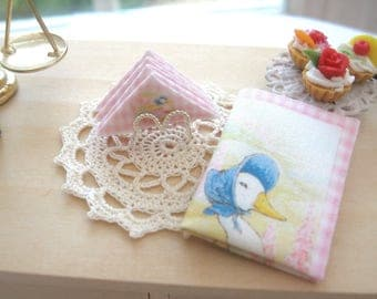 dollhouse beatrix potter napkins x 4 and silver plated holder  and tea towel  jemima puddle duck 12th scale miniature
