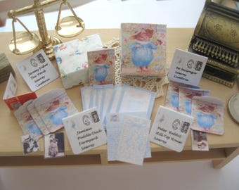 dollhouse beatrix potter tom kitten boxed writing set letters envelopes stamps photos  12th scale miniature