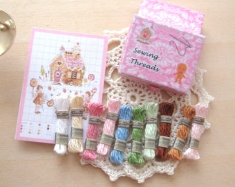 dollhouse sewing thread boxed set embroidery cross stitch gingerbread house 12th scale