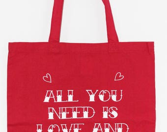 Tote bag All You need is Love and Tattoos
