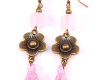 Pink flowers pink square bead and tassel earrings
