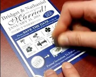Scratch card Save The Dates, Custom scratch off invites | Handmade in Canada by  ---- www.empireinvites.ca ---
