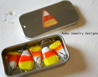 Candy Corn Stitch Markers SET OF FIVE