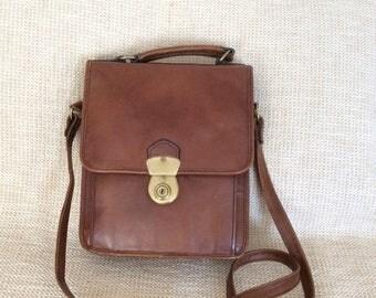20% SUMMER SALE Vintage HIDESING brown leather flap messenger bag