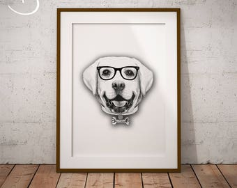 CUTE HIPSTER LABRADOR Drawing download, Wall decor, Hipster Labrador Print, Printable Labrador Poster, Labrador Decor, Hipster Dog Print