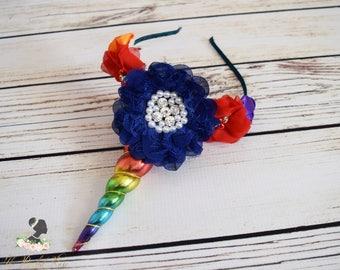 Handcrafted Rainbow Unicorn Horn Headband - Christmas Gift for Girls - Adult Unicorn Headband - Unicorn Birthday Girl Accessory - Blue Bows