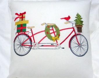 Embroidered Bike pillow cover - Tandem Christmas bike pillow cover - 12x16  16x16 - Bike pillow - seasonal pillows - Christmas pillow cover