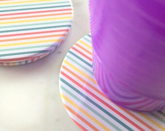 20 Rainbow Party Favors - Rainbow Party Decorations - Rainbow Coasters - Rainbow Birthday Party
