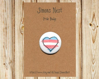 "Transgender Pride Rainbow Heart Badge - LGBT 25mm 1"" Button Pin Badge - Hand Drawn Rainbow LGBTQ Love Heart Flag Accessory"