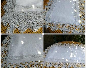 Small Rutic Linen Tablecloth White Linen Gray Hand Crochet Lace Trim Antique French handmade  #sophieladydeparis