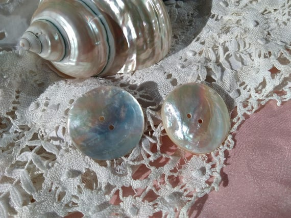 2 Large Antique Mother of Pearl Buttons French Buttons Sewing Projects Collectible #sophieladydeparis