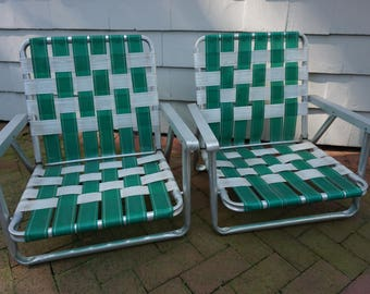 Lawn Chairs, 2 Folding Chairs, Aluminum Frames, Pool Beach Lawn Picnic Chairs, Outdoor Furniture, Mid Century  FREE PACKAGES of Strapping