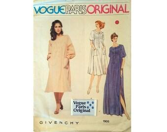 "Vogue Paris Original #1905 Vintage Givenchy Loose-fitting Pullover Pintuck Kaftan Dress Sewing Pattern 3 Options Size Bust 34"" UK 12"