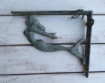 set of 2 mermaid brackets aqua green patina u0026 gold accents cast iron shelf