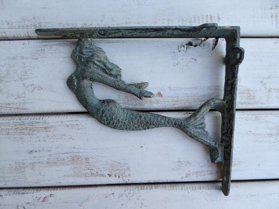 Set Of 2 MERMAID Brackets Aqua Green Patina & Gold Accents