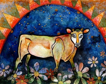 Cow Art Print from acrylic painting of Jersey Cow Calf with Stars and Flowers