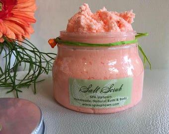 PINK GRAPEFRUIT- SPA exfoliating Dead Sea Salt Scrub-New Larger Jar-Luxury  Green Label by Spa Uptown