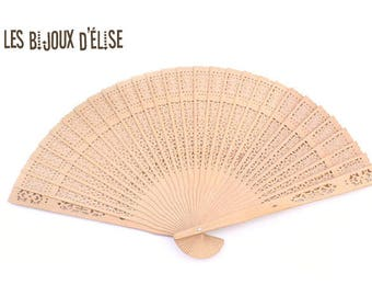 Beige Bamboo Wood Fan White FAbric Fan Bridal Wedding Accesory Costume Fan Gothic Fan Vintage Look (FAN03-FAN02)