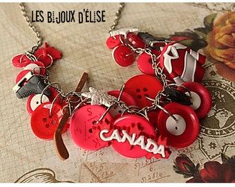 Canada Hockey Fan Necklace Hockey Mom Chocker Hockey Fan Necklace Buttons Necklace (Co64)