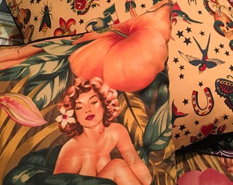 Pin-up girl  (t-dye) cushion cover