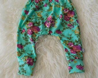 3-6 month floral on teal harem pants by little lapsi. ready to ship