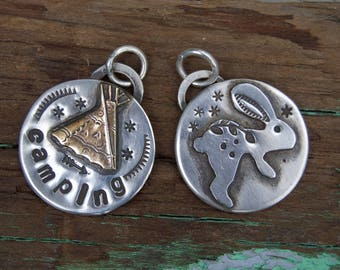 Sterling Charms . Hand Stamped. Rabbit Or Camping Charm. Tag Charm. Rustic . Earthy . Boho .