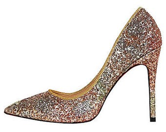 Glitter High Heel Ombre Stiletto Luxury sparkle Red Blue purple rose gold Multi xmas Party Pump pointed court heel