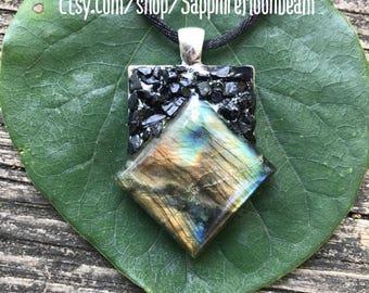 Labradorite yellow blue flash & Black Tourmaline handmade pendant metaphysical gypsy hippie pagan bohemian new age jewelry
