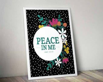 2018 LDS Young Women Mutual Theme Kit | Peace In Me Mutual Theme | Black Dot Floral | LDS Printables | Mormon Art | D&C 19:23