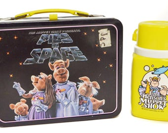 Vintage 70s The Muppet Show Presents Pigs in Space Metal Lunch Box with Thermos