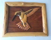 """Hummingbird Stunning Intarsia Wood Picture Handcrafted Wall Decor Unique Frames 12""""L"""