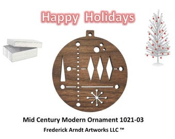 1021-3 Mid Century Modern Christmas Ornament