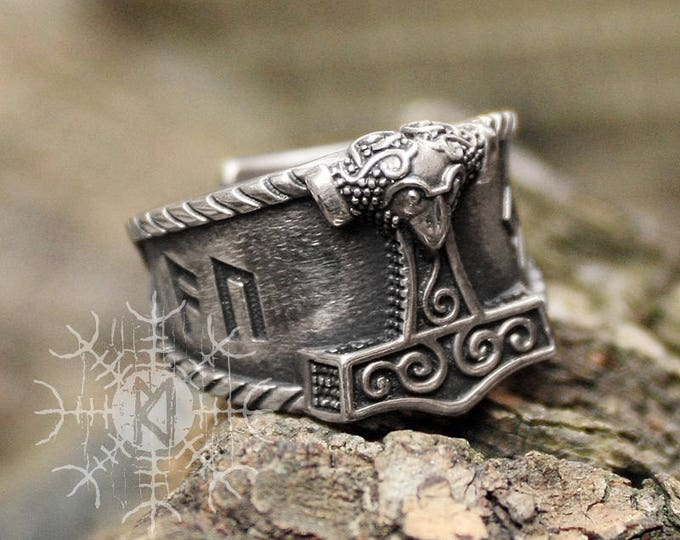 Silver AUJA Runes Good Luck Mjolnir Thor Hammer Nordic Amulet Talisman 3D Adjustable Size Ring