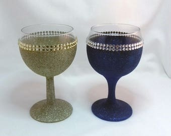 Wine Glass Glitter Double Diamante